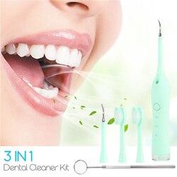 3in1 escova de dentes elétrica profissional cálculo dental removedor sônico tártaro dente mancha removedor kit limpeza dos dentes com espelho 31