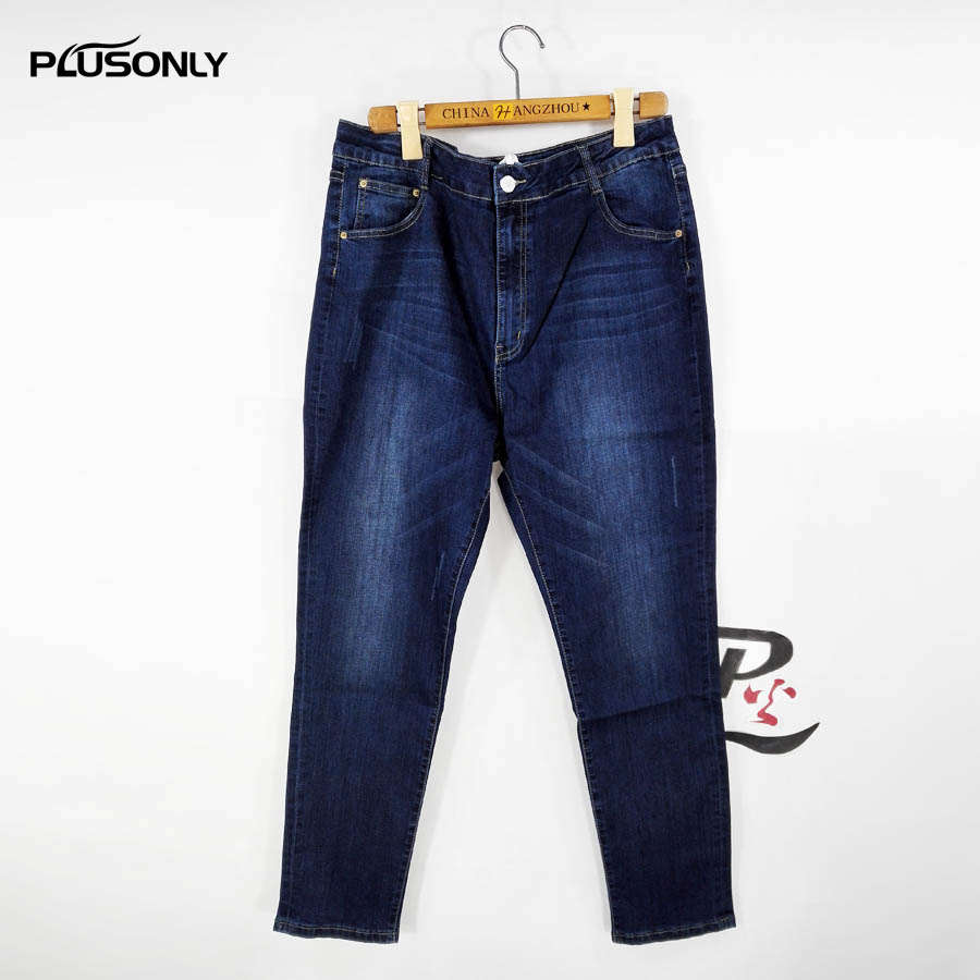 Plus Size Jeans Women Casual Slim Stretched Denim Pencil Pants Trousers 3 4 5 6 XL Blue FY18 elastic jeans women brand new plus size 3 4 5 6 xl casual slim skinny classic denim pencil pants trousers blue lej11