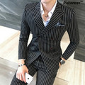2017 Latest Coat Pant Designs 3 Pieces /Set (Jacket +Vest+Pants) Mens Prom Suits Classic Striped Double Breasted Suits 5XL Plus