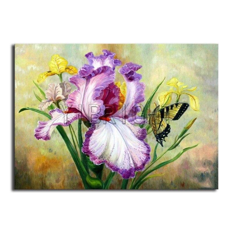 Plein Diamant Rond broderie point de Croix iris papillon Carré Plein Diamant peinture paysage DIY 3D Diamant mosaïque fleur