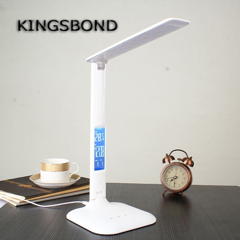 Dimmable-Table Lamp with LED display Desk Lamp Eye Protection Portable LED reading lamp With Calendar Alarm Colck folding 4w led table lamp with child eye protection light desk lamp for study portable ed light with calendar alarm colck