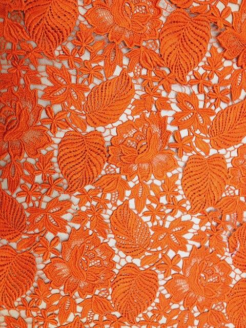 Super Oranje Kant stof, gehaakte venise kant stof, bruids retro bloemen OB-83