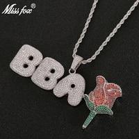 Missfox Colorful Cz Zircon Letter Rose Any Combination Pendant Necklace Hip Hop Personality Creative Pendant For Men&Women New