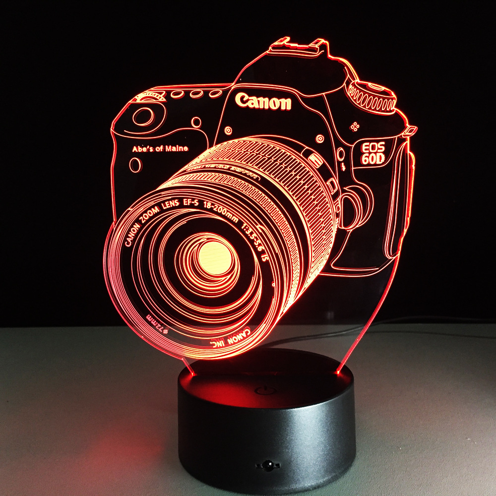New 1PCS Novelty 3D Acrylic Entertainment Camera Illusion LED Lamp USB Table Light RGB Night Light Romantic Bedside Decor Lamp free shipping 1piece new arrive marvel anti hero deadpool figure light handmade 3d bulbing illusion lamp led mood light for kid