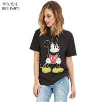 New 2016 Fashion Cartoon Mickey Print T Shirt Womens Short Sleeve Cotton Women T Shirt All
