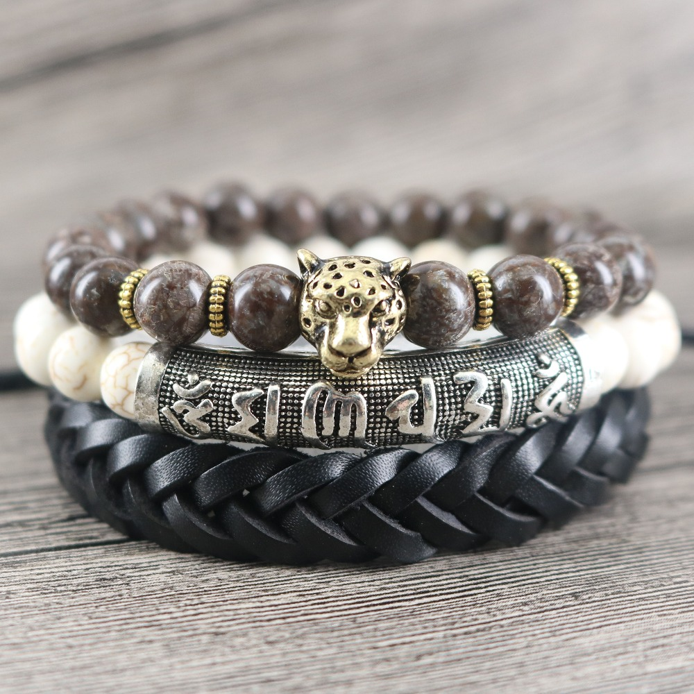 Buddhist Six Words Mala Proverbs Pipe Bar Beaded Stones Vintage Charm  Bracelets Leopard Weaved Leather Wrap