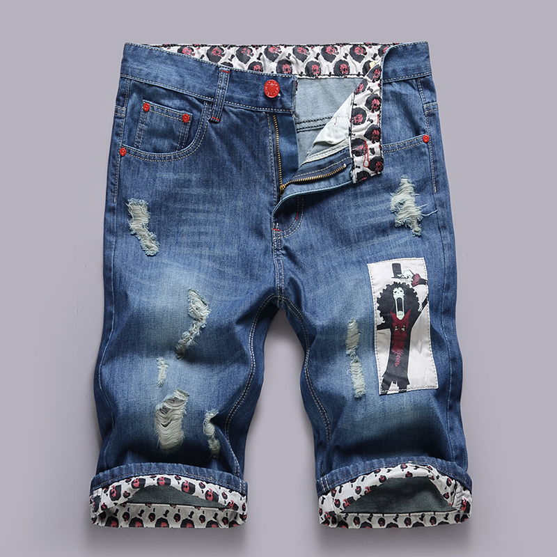 2017 new denim shorts homme summer high quality men 39 s cotton stretch jeans knee lenght printed jeans. Black Bedroom Furniture Sets. Home Design Ideas