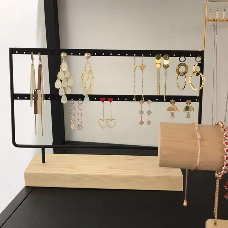 48 Holes Jewelry Organizer Stand Black and White color Iron with Wooden craft Earring Holder Fashion Earrings Display Rack