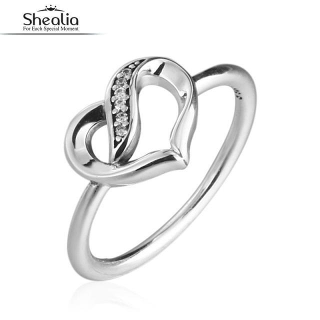 SHEALIA Pave CZ Ribbons of Love Heart Rings For Women 925 Sterling-Silver-Jewelry Rings with Brand Logo Valentine's Gift 2017