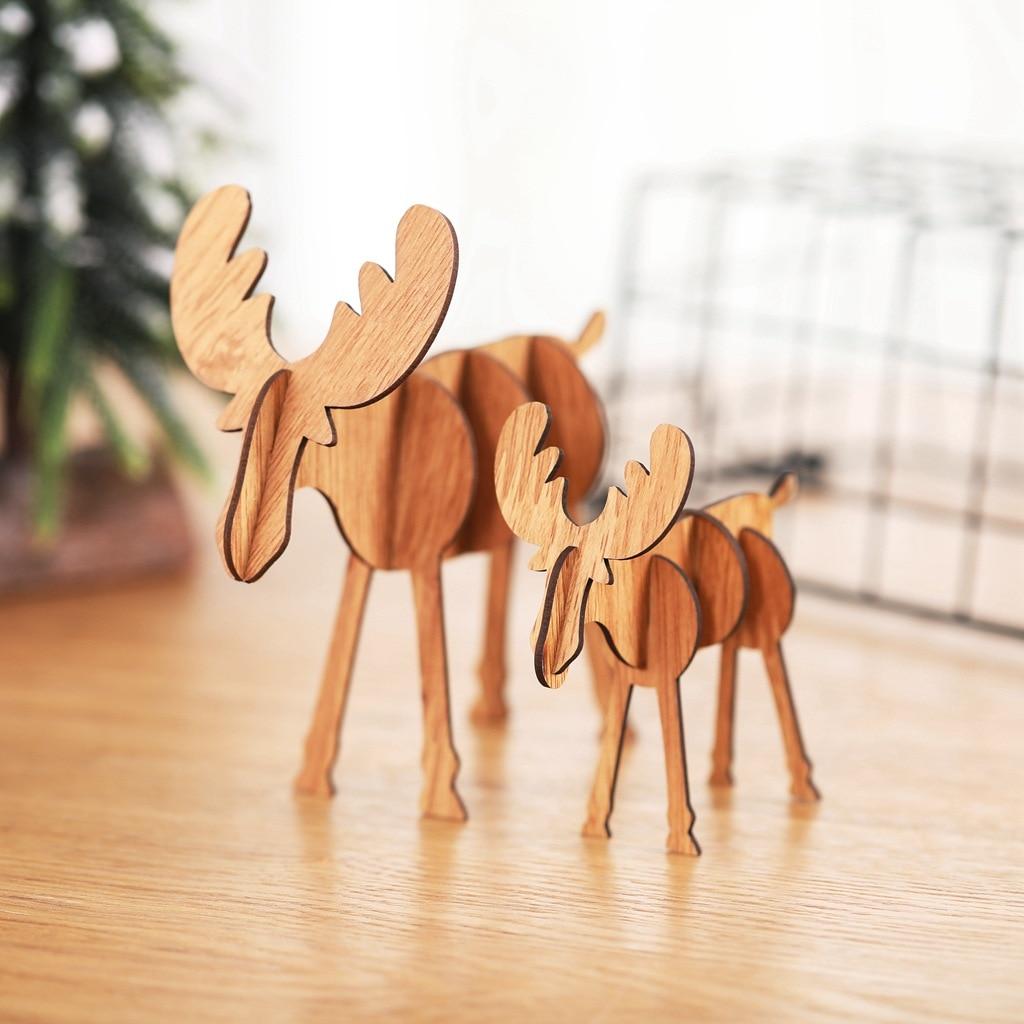 New style Christmas decoration supplies wooden DIY elk ornaments children creative gift desktop assembly hem