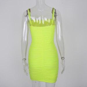 Image 5 - NewAsia vestido de verano de malla ajustado con tirantes, fruncido, para mujer, fiesta, noche para discoteca, 2020