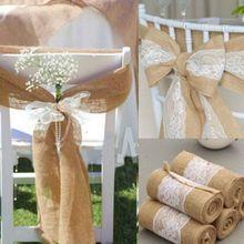 Rollo de arpillera de yute con encaje blanco, lazo decorativo Vintage, cinta decorativa para mesa, marco decorativo para SILLA, hogar, boda