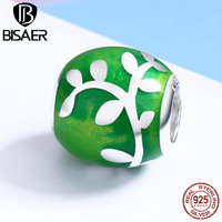 925 Sterling Silver Green Leaves Natural Round Tree Of Life Beads Fit Pan Charms Silver 925