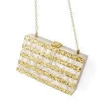 Золотой Блестящий Полосатый телесный акриловый кошелек коробка клатчи Женская сумка через плечо сумки женские bolsas feminina