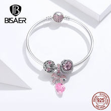 Women Pulseira BISAER 925 Sterling Silver 2019 Pink Bowknot Shape Infinity Love Female Bracelets Bangles Silver Jewelry ECB827(China)