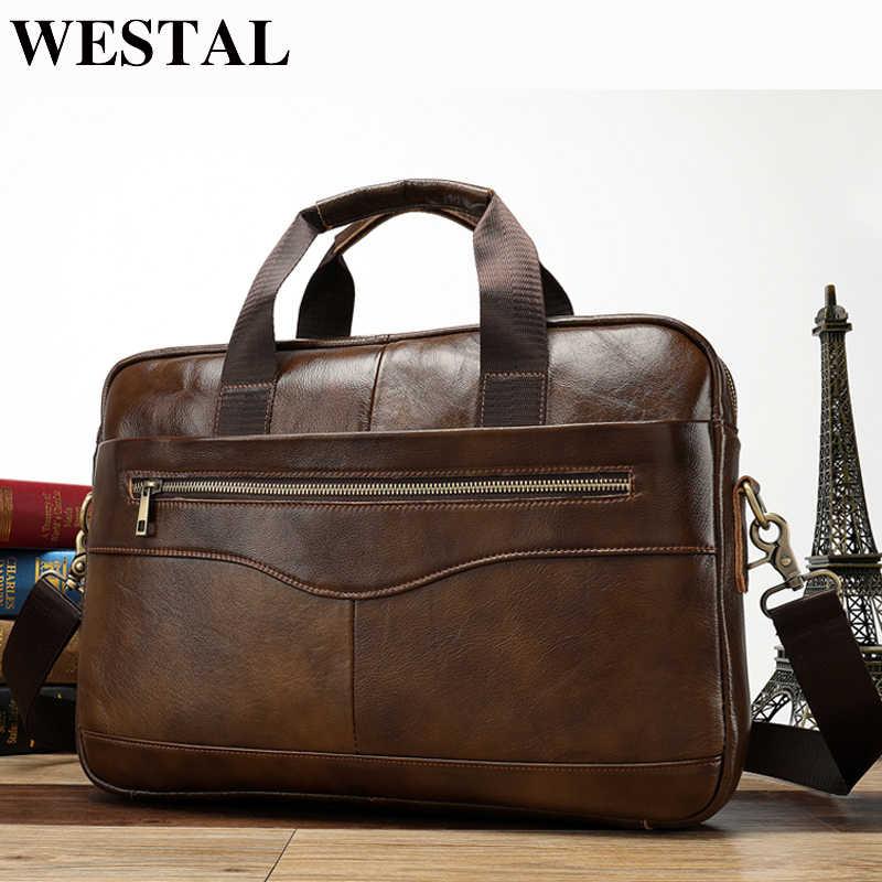 WESTAL Messenger Bag Men Leather Laptop Bag 14   Totes Genuine Leather  Shoulder Bags Casual 02fb8081b4992