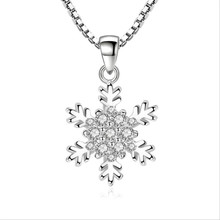 TJP Charm 925 Sterling Silver Necklace For Women Party Jewelry Top Quality Crystal Snowflake Pendants Accessories