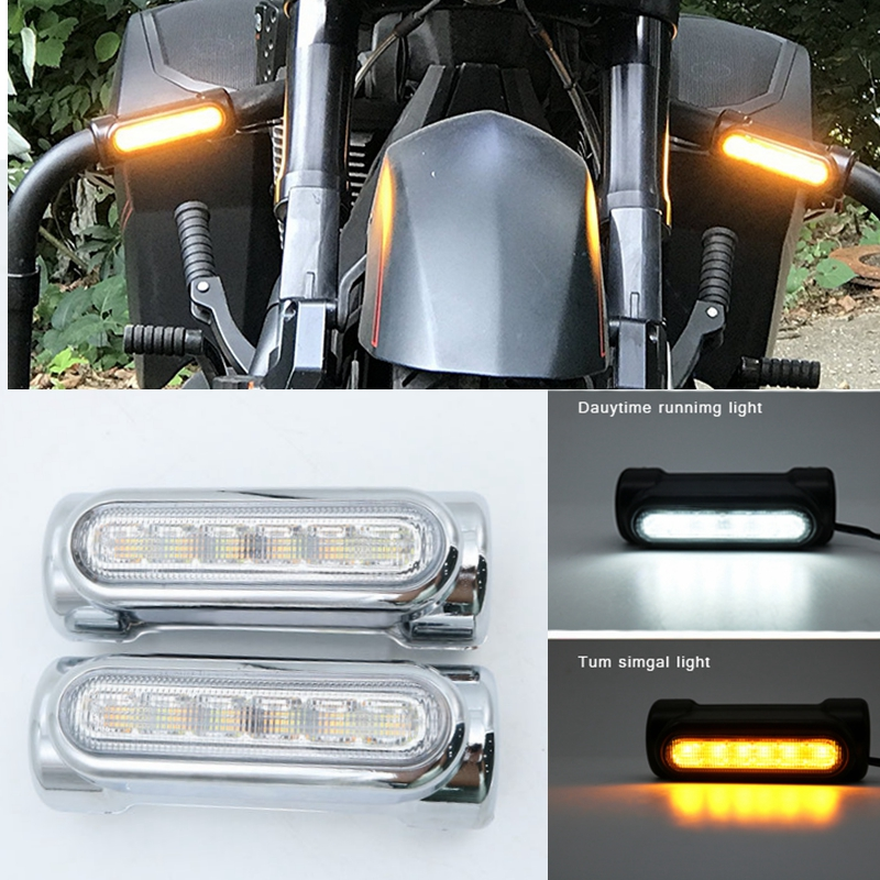 Chrome/Black Motorcycle Highway Bar Lights TURN SIGNAL LAMP White Amber LED for Crash Bars For Harley Davidson Touring Bikes|amber led - title=