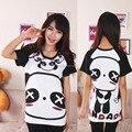 Novo 2016 verão mulheres Casual camiseta de algodão bonito dos desenhos animados Panda impresso mulheres tops de manga curta O pescoço fino T - camisas