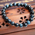 8mm Wholesale Genuine Natural Blue Tiger's Eyes Gem Stone Round Beads Jewelry Stretch Charm Bracelets For Women
