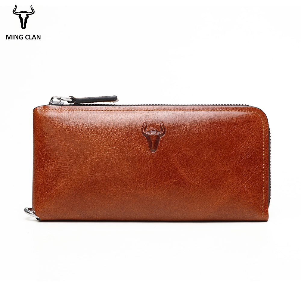 Mingclan Famous Brand Men Wallet Luxury Long Clutch Handy Bag Moneder Male Leather Purse Men's Clutch Bags Carteira Masculina joyir men wallet genuine leather wallet luxury long clutch bags men leather walle purse business handy bag carteira masculina
