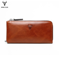 Mingclan Famous Brand Men Wallet Luxury Long Clutch Handy Bag Moneder Male Leather Purse Men's Clutch Bags Carteira Masculina