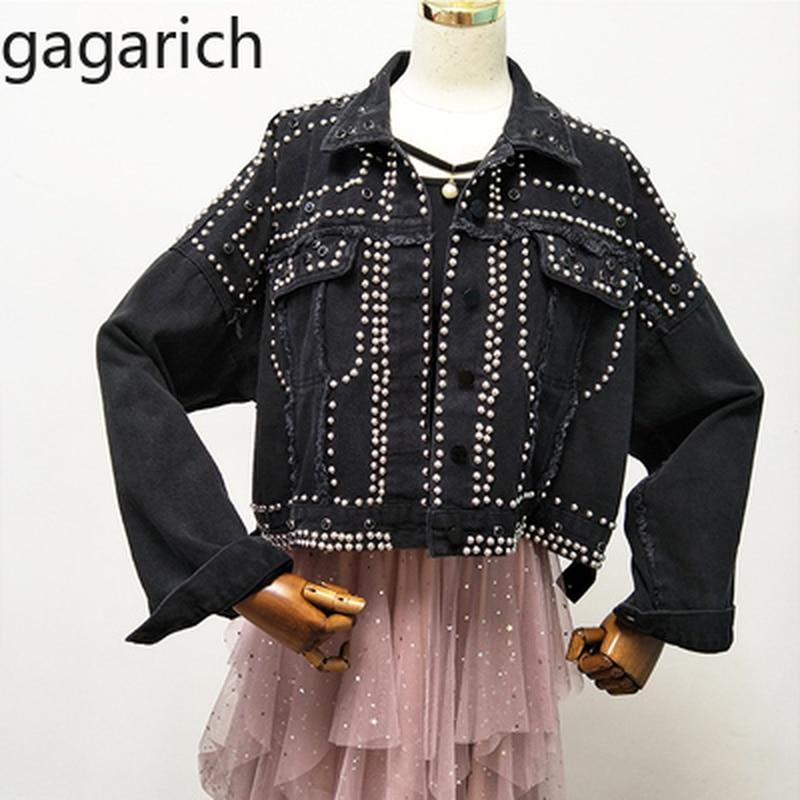 Gagarich Autumn Women Harajuku Red Denim Jacket Coat Heavy Hand Beaded Rivet Short Black Jeans Jacket