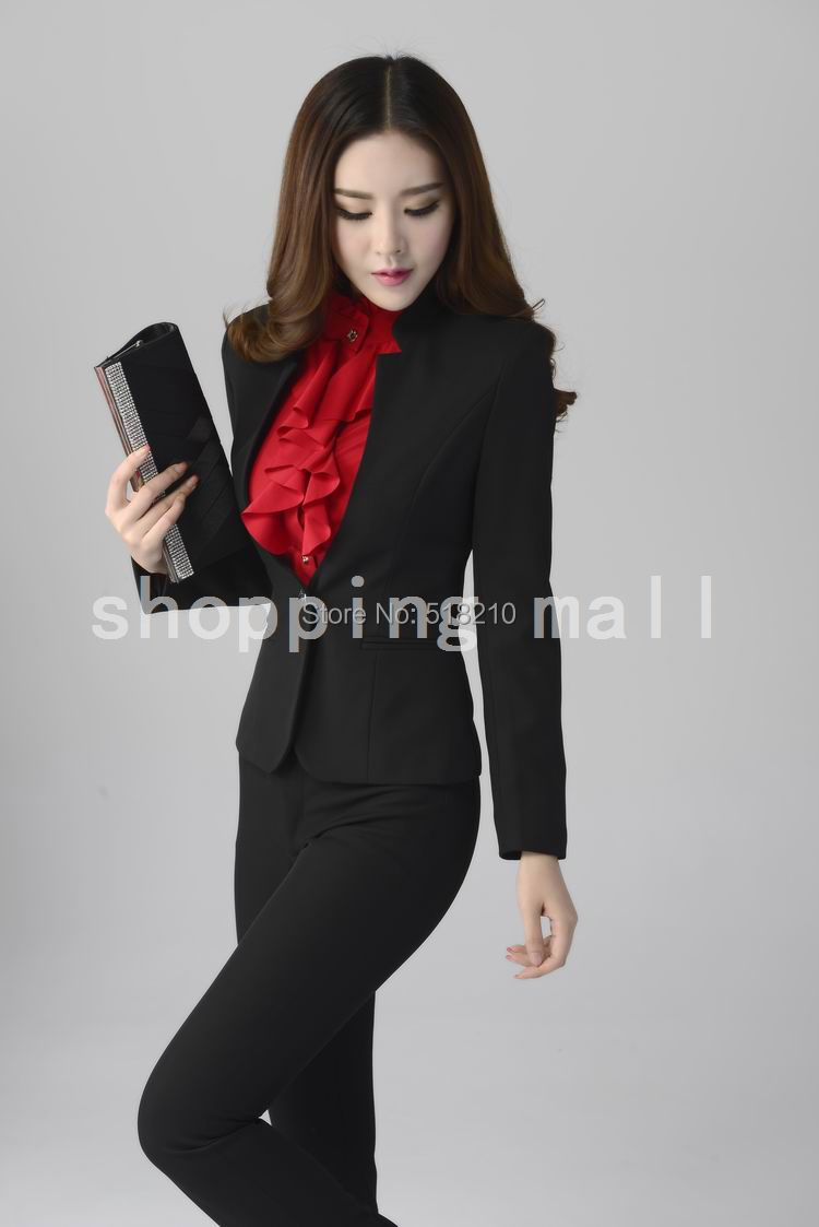 Plus Size 4xl Uniform Style Formal Pant Suits For Office Las