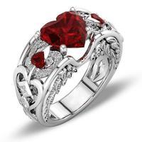 Lindo Día de San Valentín regalo de La Joyería de Lujo 925 Plata Esterlina AAA en Forma de corazón Rojo de la CZ Zirconia Mujeres Del Ala Del Ángulo de La Boda Banda anillo