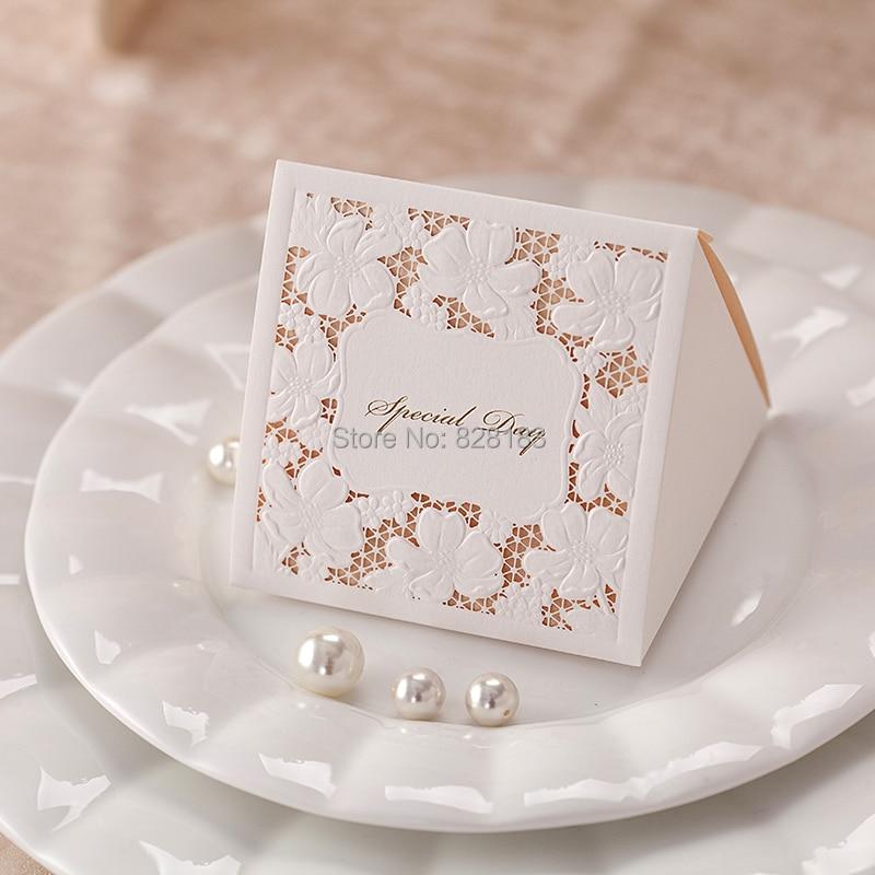 Big Heard Love 25pcs Flower Laser Cut Wedding Candy Box Gifts Box