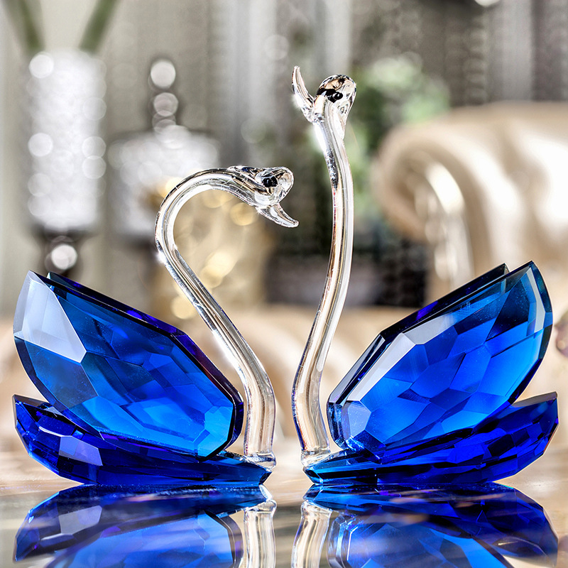 Painted Couple Peacock Wedding Gifts Unique Delicate Home: Crystal Swan Ornaments Home Accessories Wedding Gift Ideas