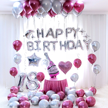 26pcs/lot 30inch Happy 18 Birthday silver Foil number Balloons Metallic Globos 18th Anniversary birthday Party Decor Supplies