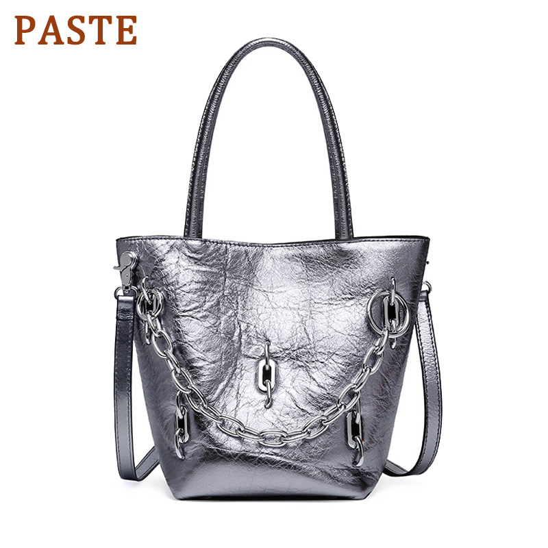 PASTE Genuine Leather Women Tote Bag Cowhide Crossbody Bags for Women Bucket Chains Shoulder Bag Luxury Women bags Sliver BlackPASTE Genuine Leather Women Tote Bag Cowhide Crossbody Bags for Women Bucket Chains Shoulder Bag Luxury Women bags Sliver Black