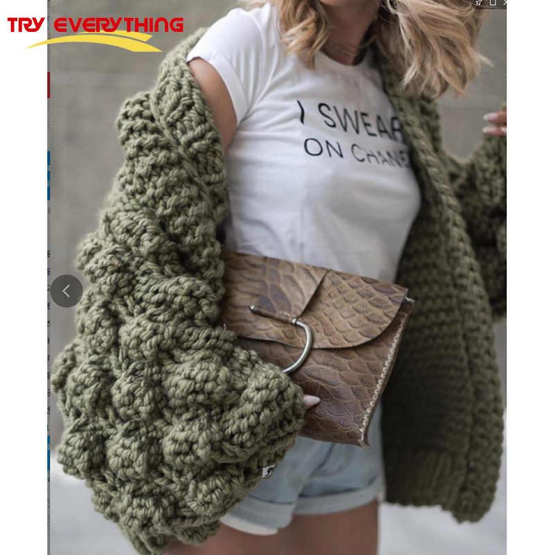 TryEverything вязаный длинный женский кардиган с рукавами осенняя куртка женские зимние свитера 2019 модный топ женские кардиганы для женщин