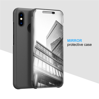 Smart Flip Stand Mirror Case For Xiaomi Mi 8 Mi8 Case Clear View PU Leather Cover For Xiaomi Mi 8 SE 8SE Case Cover for Xiaomi 8