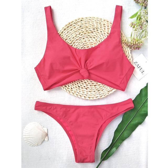 2fe7b3f5712 US $15.99 |ZAFUL Scoop Knotted High Cut Bathing Suit Padded Thong Bikini  Set Women Swimwear Swimsuit Solid Brazilian Biquni-in Bikinis Set from  Sports ...