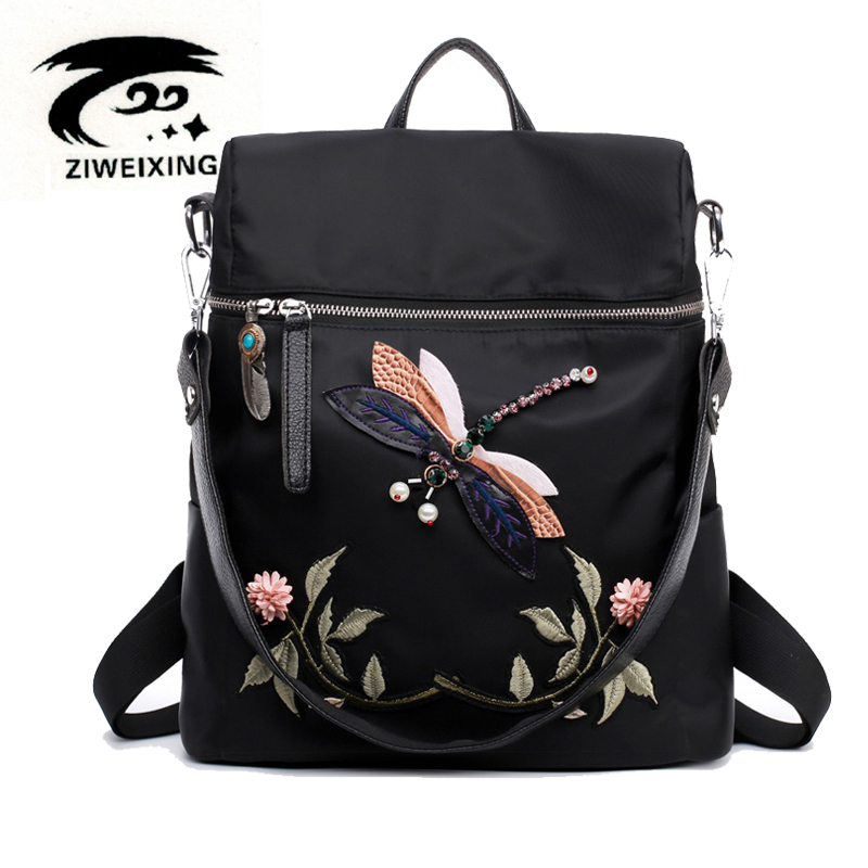 Fashion Backpack Women Oxford School Bags for Teenage Girls Dragonfly Embroidery Practical Functional Travel Female Backpack