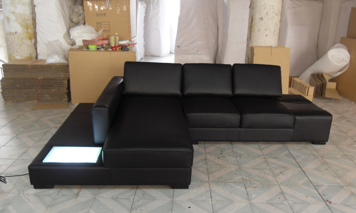 Free Shipping Modern L Shaped Simple White Black Cattle Leather Corner Sofa With Led Light Set Best Furniture Living Room In Sofas From
