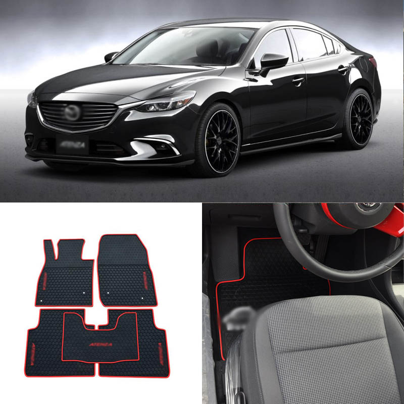 High Quality Full Set All Weather Heavy Duty Black Rubber Floor Mats For Mazda Atenza In Floor
