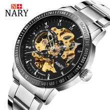 Nary Hollow Watches Men Fashion Business Leather Wristwatch Stainless Steel Waterproof Automatic Self Wind Watches Relogio