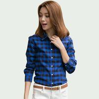 2015 Autumn New Plaid Shirt Women Blusas Femininas Slim Fashion Women Tops Classic Shirt Plus Size