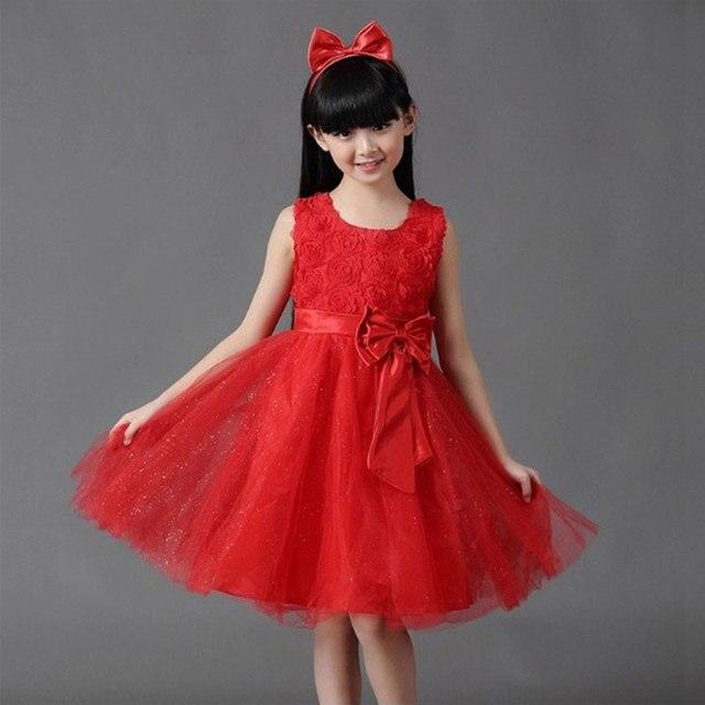 Retail Girls Dress Princess dress children s Party dress with bow girl  wedding flower Baby girls dress free shipping 5031 345c074406b5