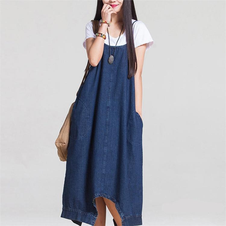 best loved d8be9 8ff6d US $20.0 20% di SCONTO|Estate Donna jeans abito stile Coreano Casuale  Irregolare Grande Tasca Dei Jeans Abiti Moda allentato Blu Denim Maxi-in  Abiti ...