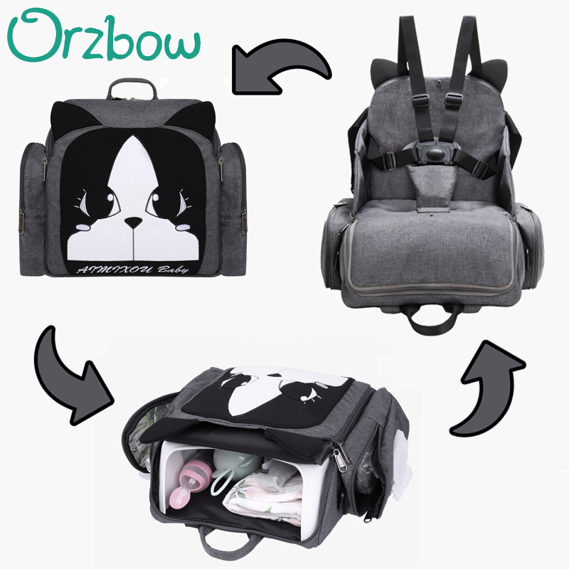 Cartoon Mummy Bag Baby Booster Seats Dinner Feeding Chair Backpack Diaper Bag with Paper Pocket Bottle