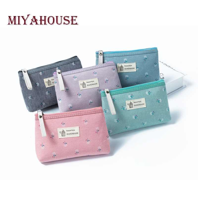 Miyahouse New Arrival Canvas Floral Printed Cosmetic Bag Women Small Zipper Makeup Bags Lady Travel Girls Toiletry Bag