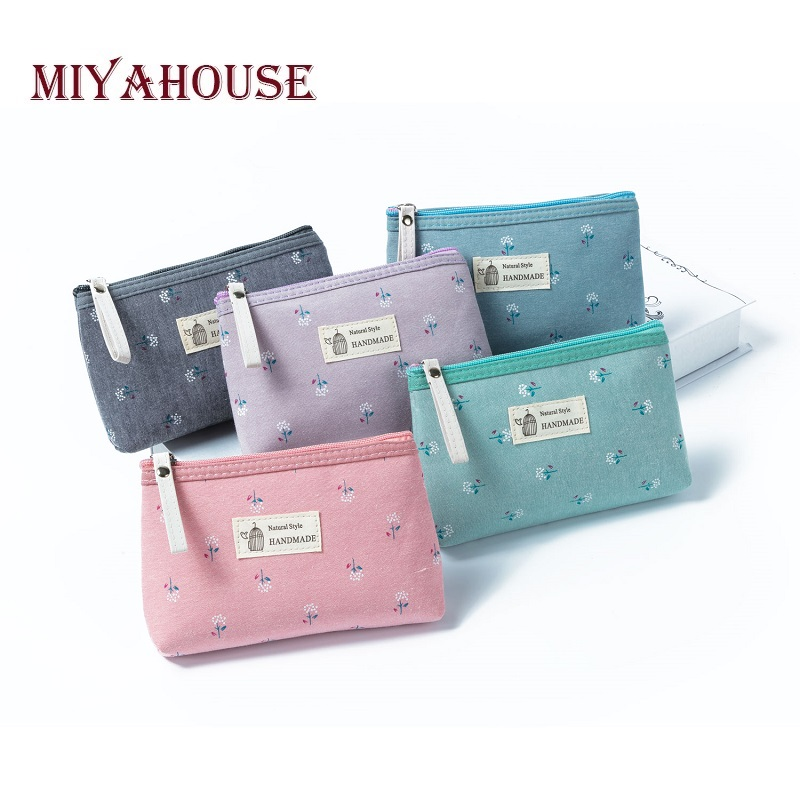 New Arrival Canvas Floral Printed Girl Cosmetic Bag Women Small Zipper Makeup Bags Lady Travel Girls Toiletry Bag