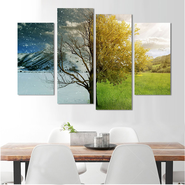 One side is winter, and the other is winter 4 Pieces Landscape canvas painting  without frame home decor HD print posters F072