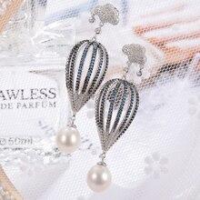 Gnpearl PL Balon Udara Mutiara Air Tawar Anting-Anting Keanggunan Alami Tetesan Air Pearl Drop Earrings 925 Sterling Perhiasan Perak