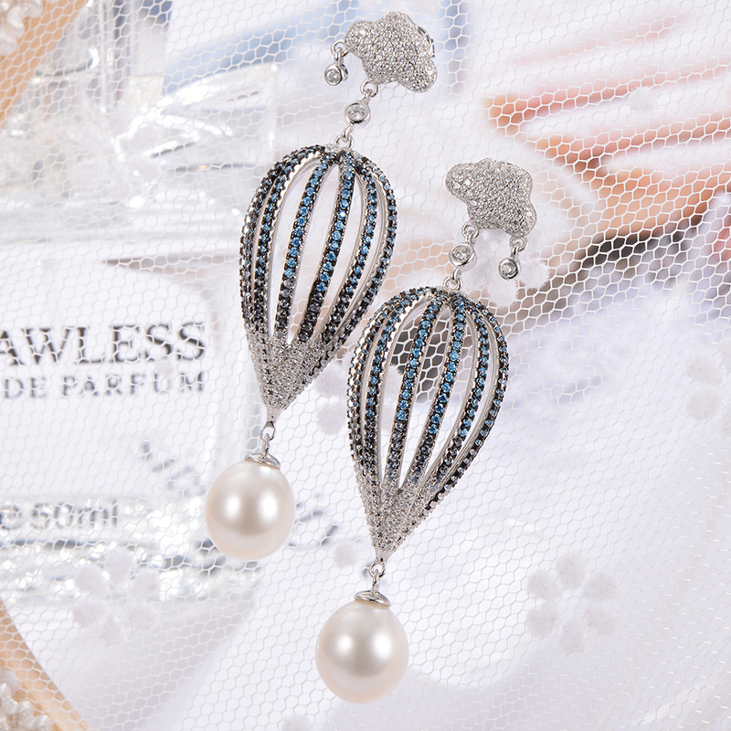 GNpearl Ot Air Balloon Freshwater Pearl Earrings  Natural Elegance Waterdrop Pearl Drop Earrings 925 Sterling Silver  Jewelry