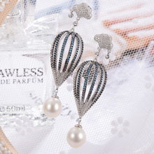 gNpearl ot Air Balloon Freshwater Pearl Earrings  natural Elegance Waterdrop pearl Drop earrings 925 Sterling Silver jewelry